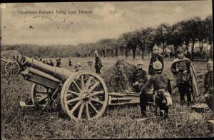 Ak Haubitzenbatterie fertig zum Feuern, Soldaten, I. WK