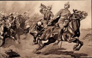 Künstler Ak Attacke deutscher Dragoner in der Schlacht an der Marne, I. WK