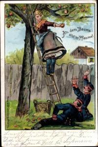 Litho An dem Baume sitzt ne Pflaume, Frau, Leiter, Soldaten