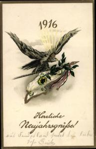Litho Glückwunsch Neujahr, Adler, Fahne, Jahreszahl 1916