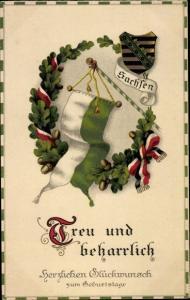 Wappen Litho Glückwunsch Geburtstag, Treu und beharrlich, Sachsen