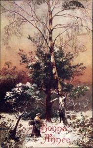 Künstler Ak Glückwunsch Neujahr, Frau, Winterlandschaft