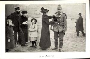 Ak Soldat vor dem Ausmarsch, Frau, Kinder, Mann