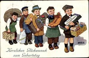 Künstler Ak Engelhard, P. O. E., Glückwunsch Geburtstag, Jungen mit Geschenken, Schuhe, Petroleum