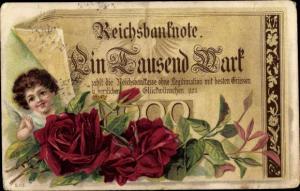 Litho Glückwunsch Sonstige, Reichsbanknote ein Tausend Mark, Rosen, Engel
