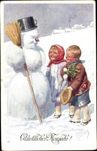 Künstler Ak Feiertag, Karl, Glückwunsch Neujahr, Schneemann, Kinder