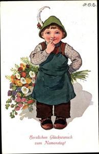 Künstler Ak Engelhard, P. O. E., Glückwunsch Namenstag, Junge, Blumenstrauß
