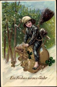Präge Litho Glückwunsch Neujahr, Schornsteinfeger rutscht auf Geldsack Hang hinab, Kleeblätter