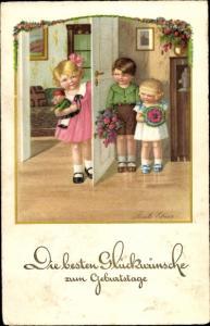 Künstler Ak Ebner, Pauli, Glückwunsch Geburtstag, Kinder, Blumenstrauß, Puppe