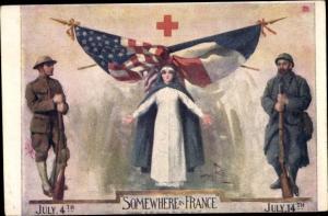 Künstler Ak Somewhere in France, Französisches Rotes Kreuz, Soldaten