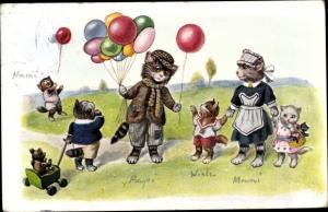 Künstler Ak Vermenschlichte Katzen, Luftballonverkäufer, Kindermädchen