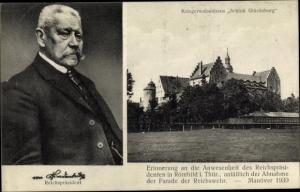 Ak Glücksburg in Schleswig Holstein, Kriegerwaisenhaus, Reichspräsident Hindenburg