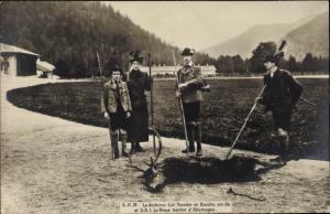 Ak Maria Josepha von Portugal, Herzog Carl Theodor, Kronprinz Wilhelm von Preußen, Jagd