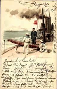 Künstler Litho Bohrdt, Hans, Deutsche Matrosen am Torpedo Lazierrohr, Meissner Buch 1000