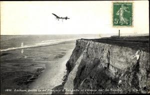 Ak Sangatte Pas de Calais, Pilot Latham, Monoplan Flugzeug