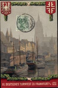 Künstler Ak 11. Deutsches Turnfest in Frankfurt am Main 1908, Hafen, Wappen