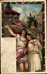 Künstler Ak 10. Deutsches Turnfest 1903 Nürnberg, Aus dem Festzug, Erste Gruppe