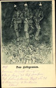 Künstler Ak Das Feldgrauen, Deutsche Soldaten im I. WK, Kladderadatsch Nr. 4
