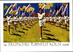 Künstler Ak 14. Deutsches Turnfest Köln 1928, Freiübungen im Kölner Stadion