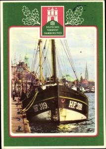 Ak Deutsches Turnfest 1953 in Hamburg, Kutter HF 319 im Hafen, DTB