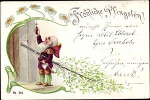 Ak Glückwunsch Pfingsten, Zwerg mit Pfingstbaum