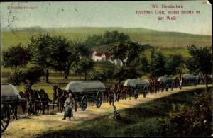 Ak Brückentrain, Soldaten, Fuhrwerke, Wir Deutschen fürchten Gott