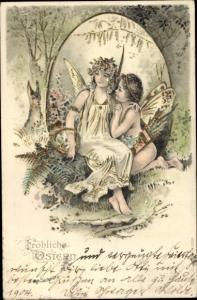 Präge Litho Glückwunsch Ostern, Engel und Elfe, Osterhase