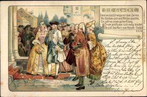 Litho Paar bei der Hochzeit, Die Glocke, Denn wo das Strenge mit dem Zarten, Friedrich Schiller