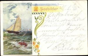 Künstler Ak Segelboot, Seebilder