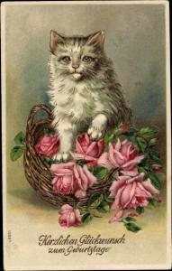 Präge Ak Katze mit Rosenkorb