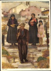 Künstler Ak Chiesa, Pietro, Der Auswanderer, für die Schweizer im Ausland, Bundesfeierkarte 1946