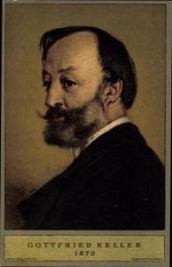 Ganzsachen Ak Gottfried Keller 1872, Schweizer Schriftsteller und Politiker, Bundesfeier
