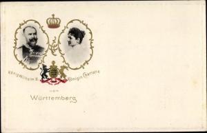 Ak König Wilhelm II. vom Württemberg, Königin Charlotte, Wappen