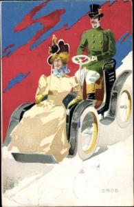 Künstler Ak Snob, Dame im offenen Automobil, Chauffeur