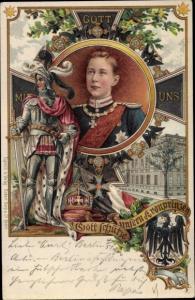 Litho Kronprinz Wilhelm von Preußen, Gott mit uns, Eisernes Kreuz