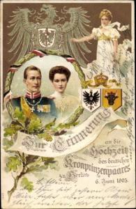 Wappen Litho Kronprinz Wilhelm von Preußen, Kronprinzessin Cecilie von Preußen, Hochzeit 1905