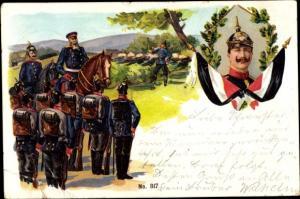 Litho Kaiser Wilhelm II., Manöver, Deutsche Soldaten in Uniformen