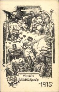 Künstler Ak Frohe Weihnachten, Feldweihnacht 1915, Soldaten im Unterstand, Weihnachtsmann, Engel