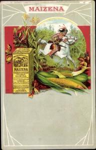 Künstler Ak Reklame Maizena, Duryea, Indianer auf einem Pferd, Mais