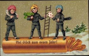 Präge Ak Glückwunsch Neujahr, Schornsteinfeger, Münzen, Hufeisen, Klee