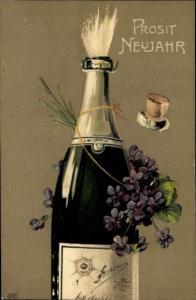 Ak Glückwunsch Neujahr, Sektflasche, Veilchen