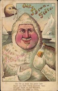 Ak Glückwunsch Neujahr, Alte Thran Flöte, Mann am Nordpol, Robbe