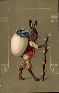Präge Ak Glückwunsch Ostern, Osterhase, Weidenkätzchen, Ei, Vergissmeinnicht