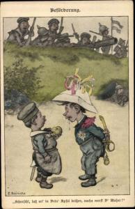 Künstler Ak Reinicke, E., Beförderung, Kinder als Soldaten