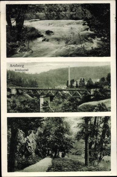 Ak Arzberg in Oberfranken, Röslautal, Brücke, Wald, Fluss 0