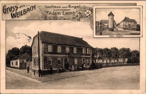 Ak Weilbach Flörsheim in Südhessen, Gasthaus zum Engel, Altes Schloss 0