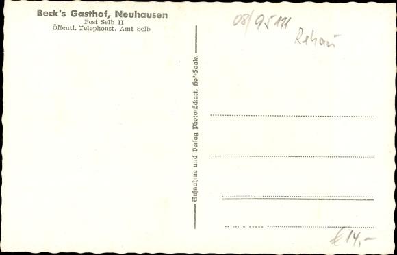 Ak Neuhausen, Selb Oberfranken, Beck's Gasthof, Gesamtansicht, Wiese 1