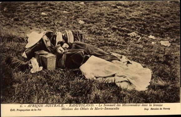 Ak Lesotho, Le Sommeil des Missionaires dans la brousse, Missions des Oblats de Marie Immaculée 0