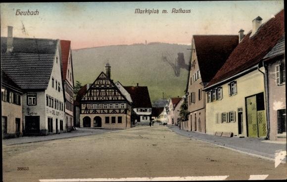 Ak Heubach in Württemberg, Rathaus, Marktplatz 0
