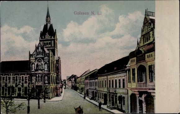 Ak Golßen Niederlausitz, Straßenpartie, Rathaus 0